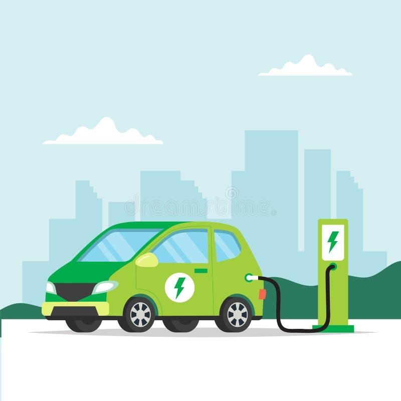 Elektrische auto die op stadsachtergrond laden Conceptenillustratie voor milieu, ecologie, duurzaamheid, schone lucht vector illustratie