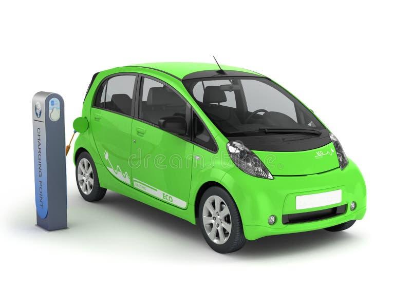 Elektrische Auto in het Laden Post 3D illustratie vector illustratie
