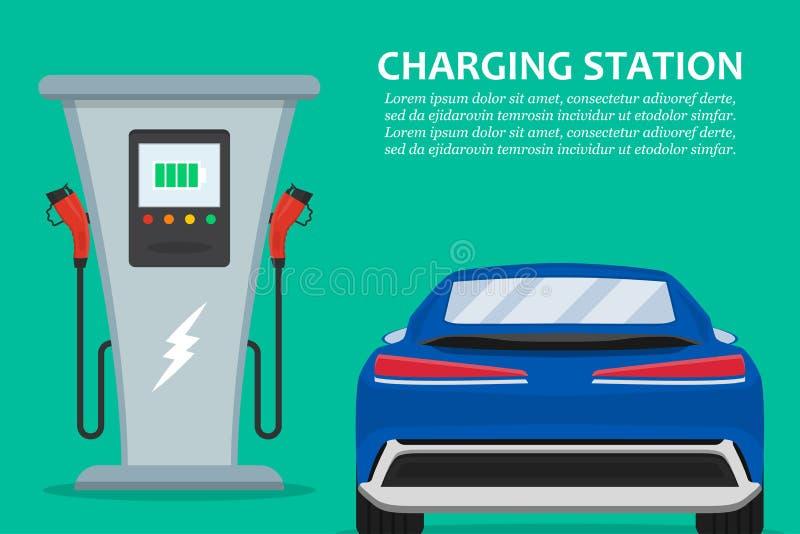 Elektrische auto het laden post met auto in een vlak ontwerp vector illustratie