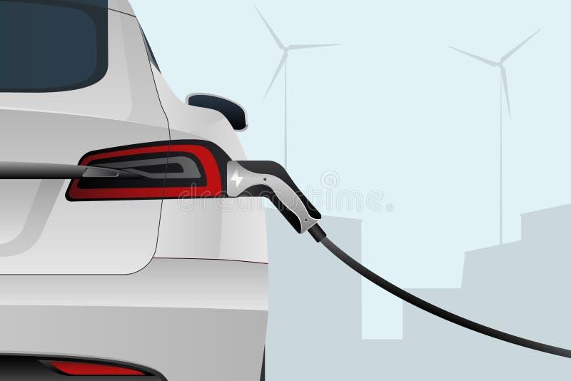 Elektrische auto met het laden van stop vector illustratie