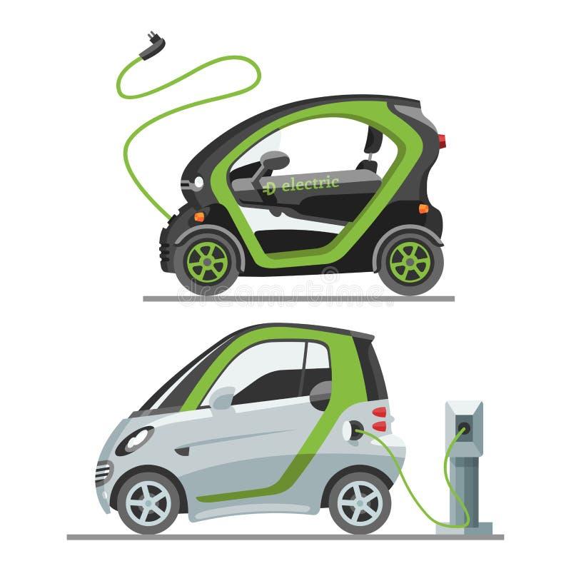 Elektrische auto met van de het vervoer vectorillustratie van zonnepaneleneco van de de contactdoos elektroauto automobiele de ba vector illustratie