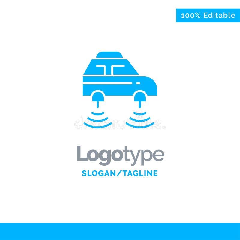 Elektrische auto, Netwerk, Smart, wifi Blauw Stevig Logo Template Plaats voor Tagline royalty-vrije illustratie