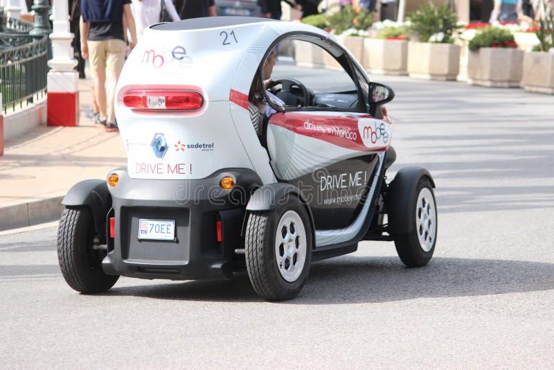 Elektrische Auto Renault Twizy (achtermening) in Monte Carlo, Monaco stock afbeelding