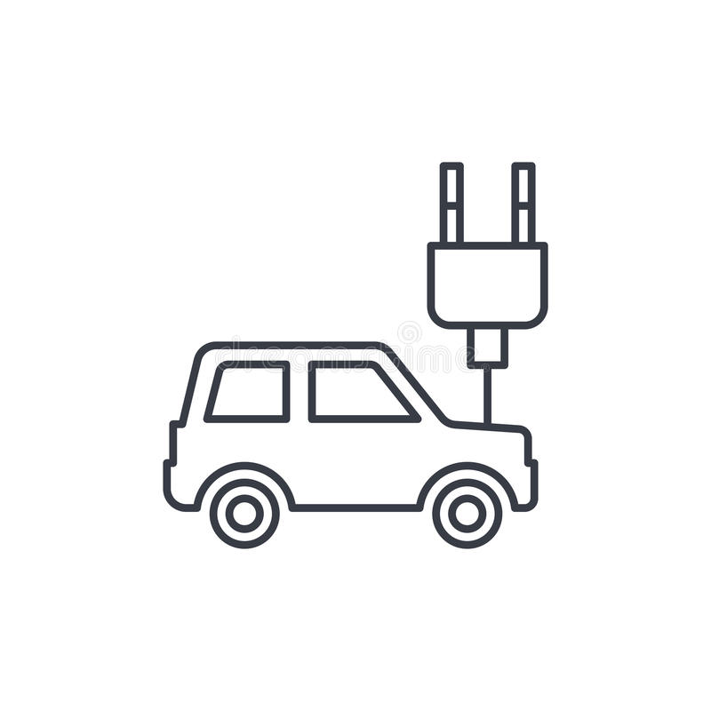 Elektrische auto, stopkabel, pictogram van de ecologie het dunne lijn Lineair vectorsymbool vector illustratie