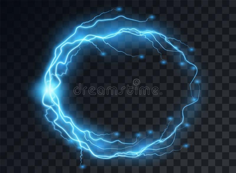 Elektrische blauwe lossing, bliksemflitsen in de vorm van een rond kader met het effect van zachte transparante gloed Ge?soleerde stock illustratie