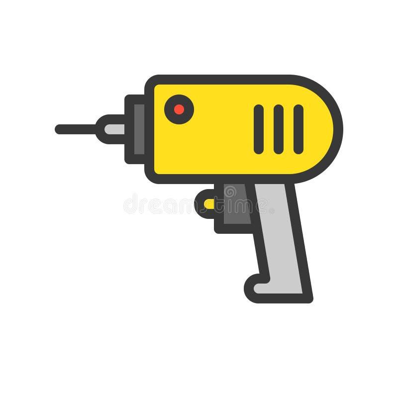 Elektrische Bohrmaschine, gefüllte Entwurfsikone, Heimwerkerwerkzeug und Ausrüstungssatz lizenzfreie abbildung