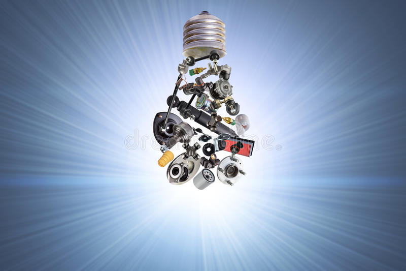 Elektrische bol met autodelen stock illustratie