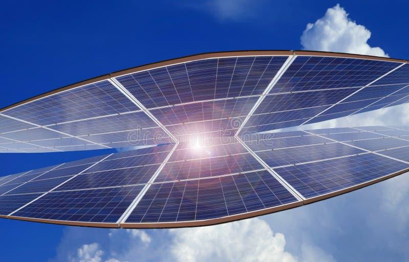 Elektrische centrale die vernieuwbare zonne-energie op blauwe hemelwolk gebruiken met royalty-vrije stock afbeeldingen