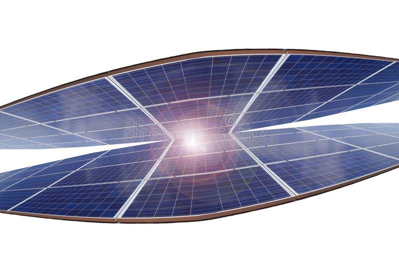 Elektrische centrale die vernieuwbare zonne-energie op witte achtergrond gebruiken stock fotografie