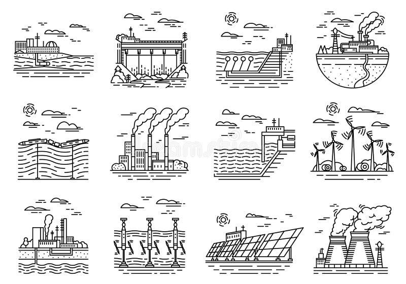 Elektrische centralespictogrammen Reeks industriële gebouwen Kernfabrieken, Chemisch Geothermisch, Zonnewindgolf stock illustratie