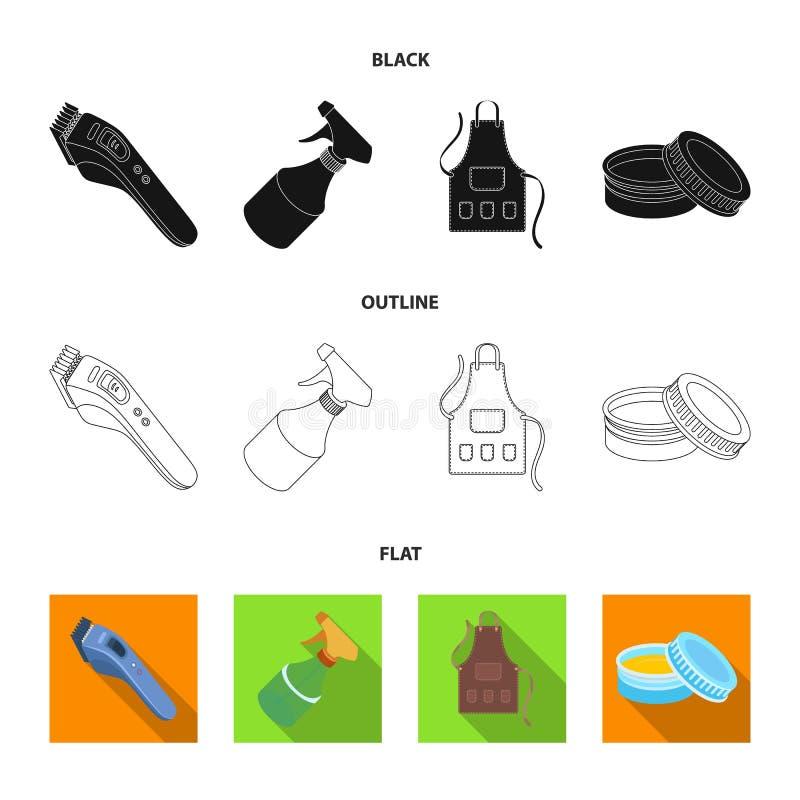 Elektrische clipper, schort, room en andere toebehoren voor een mannelijke kapper Pictogrammen van de herenkapper de vastgestelde vector illustratie