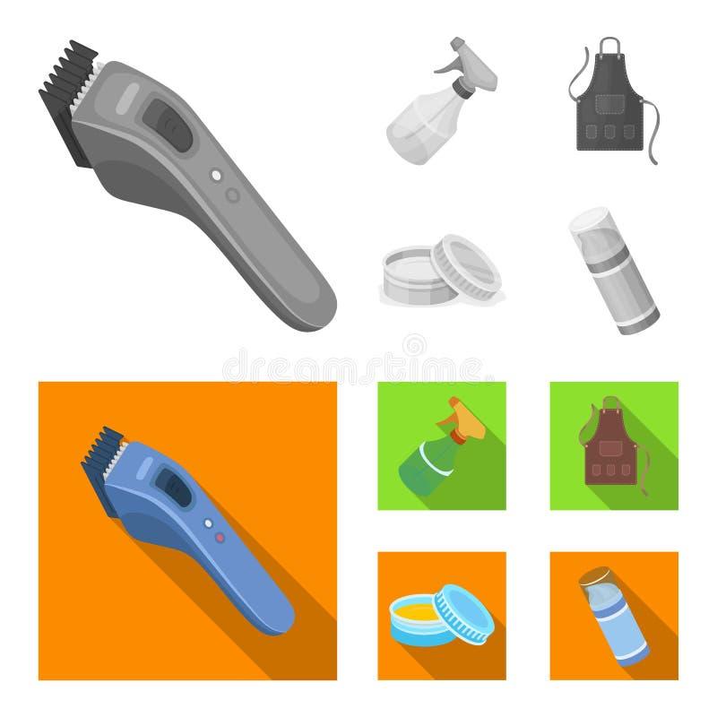 Elektrische clipper, schort, room en andere toebehoren voor een mannelijke kapper Pictogrammen van de herenkapper de vastgestelde stock illustratie