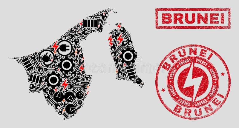 Elektrische Collagen-Brunei-Karten-und -schnee-und -Schmutz-Dichtungen stock abbildung