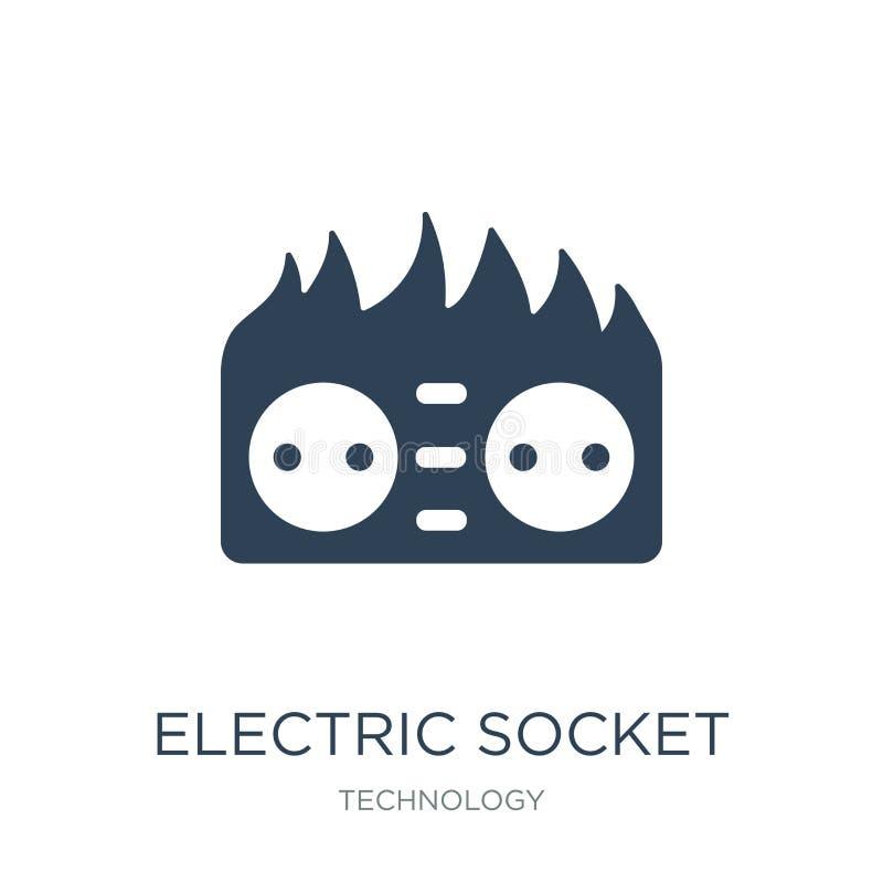 elektrische contactdoos op brandpictogram in in ontwerpstijl elektrische die contactdoos op brandpictogram op witte achtergrond w royalty-vrije illustratie