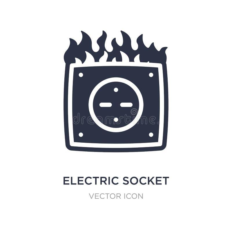 elektrische contactdoos op brandpictogram op witte achtergrond Eenvoudige elementenillustratie van Technologieconcept vector illustratie