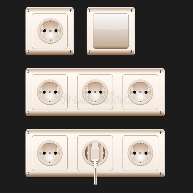 Elektrische contactdozen, schakelaar en koorden Vector illustratie, EPS10 Witte geplaatste schakelaars en contactdozen royalty-vrije illustratie