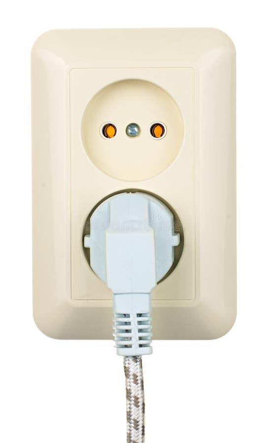 Elektrische die afzet met koord op wit wordt geïsoleerd stock foto