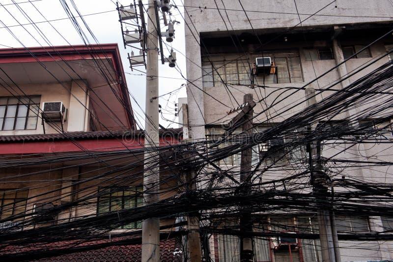Elektrische Drähte Manila, Philippinen stockfotos