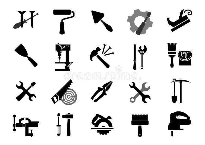 Elektrische en handhulpmiddelen zwarte pictogrammen vector illustratie