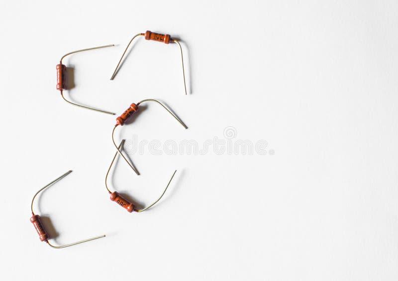 Elektrische am Endekomponente des Widerstandpassiven zwei, damit elektrischer Widerstand gegenwärtigen Fluss verringert und innen lizenzfreies stockfoto