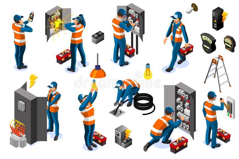 Elektrische Energie-Stromnetz mit Charakter-Ikonen lizenzfreie abbildung