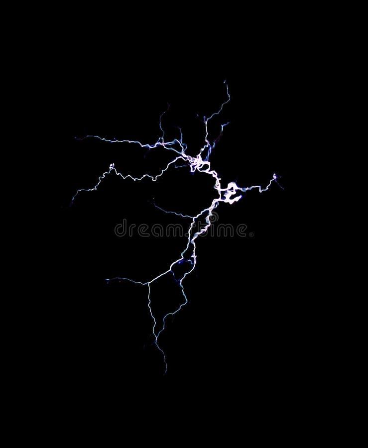 Elektrische Entladung auf einem schwarzen Hintergrund - 1 Elektroschock, Blitz, tesla lizenzfreies stockbild