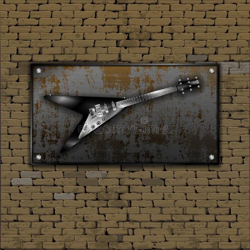 Elektrische Felsengitarre der alten Blechtafel der Backsteinmauer rostigen stock abbildung