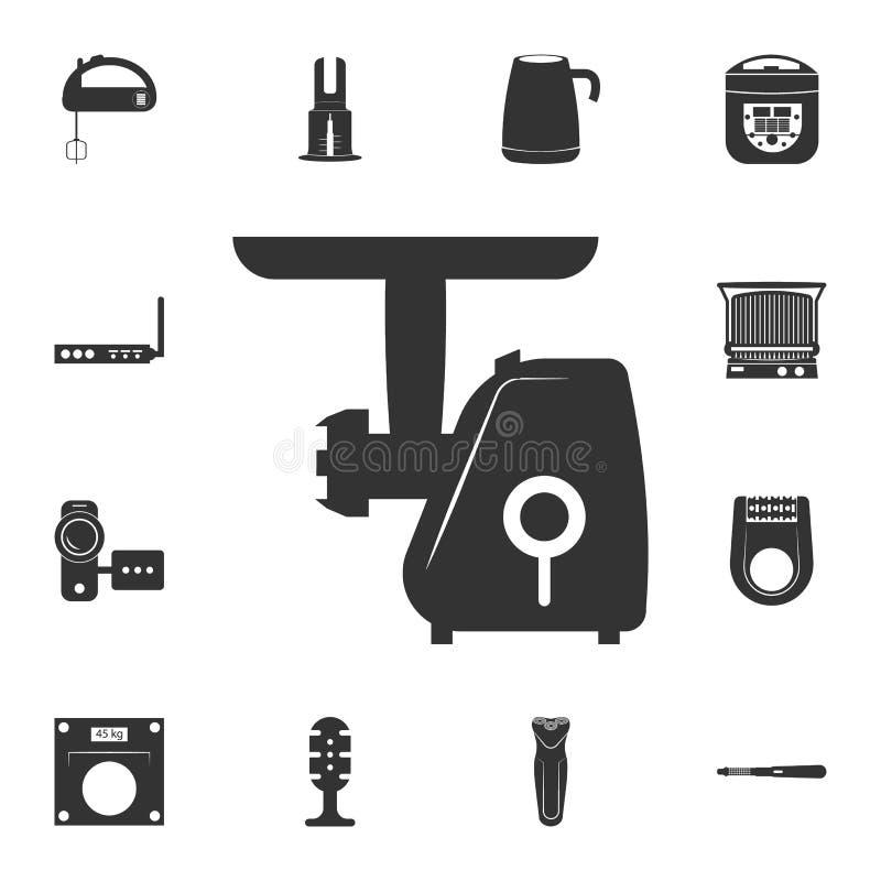 elektrische Fleischwolfikone Ausführlicher Satz Haushaltsartikelikonen Erstklassiges Qualitätsgrafikdesign Eine der Sammlungsikon lizenzfreie abbildung