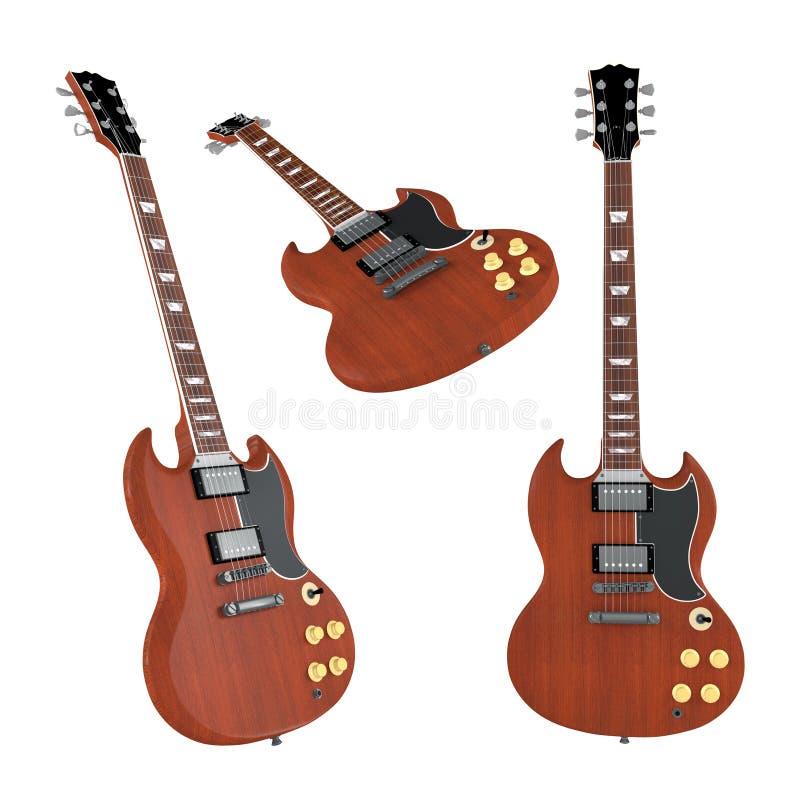 Elektrische geïsoleerde gitaar. Veelvoudige hoeken van mening stock illustratie