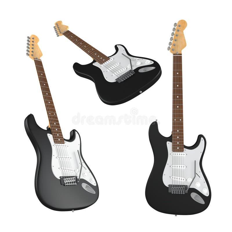 Elektrische geïsoleerde gitaar. Veelvoudige hoeken van mening royalty-vrije illustratie