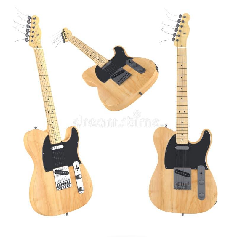 Elektrische geïsoleerde gitaar. Veelvoudige hoeken van mening stock afbeelding