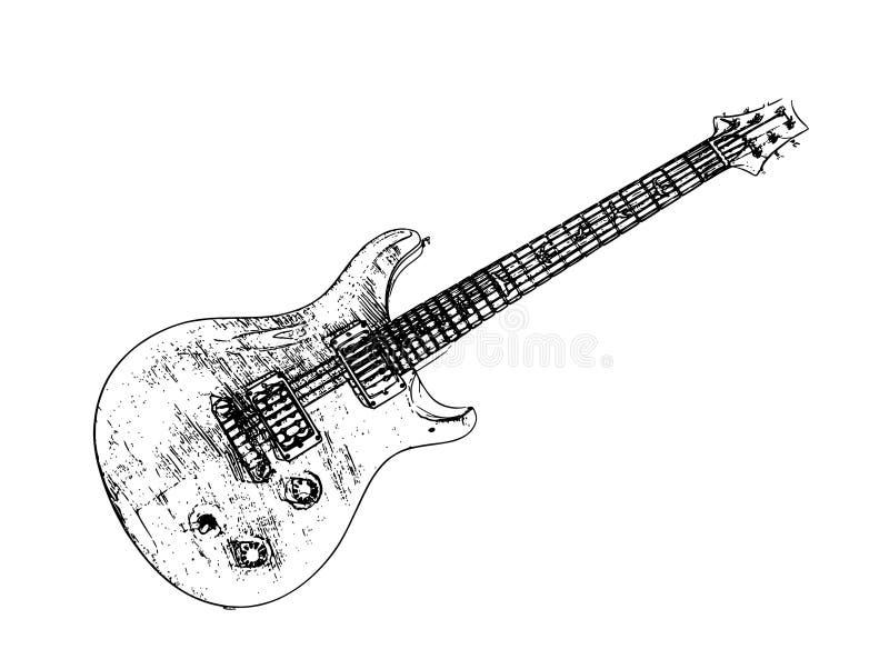 Elektrische geïsoleerded gitaar, vectorillustratie royalty-vrije illustratie
