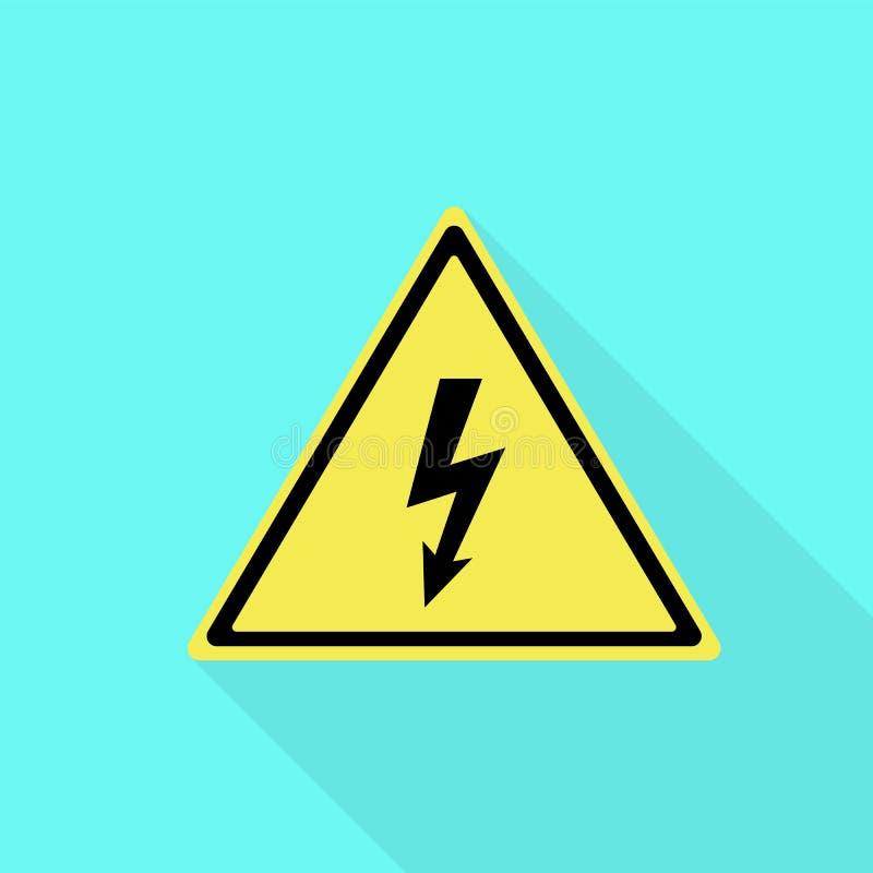 Elektrische gelbe Zeichenikone, flache Art vektor abbildung
