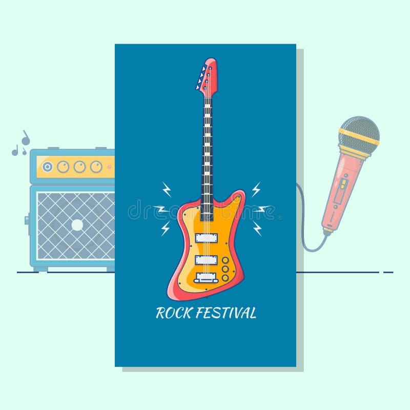 Elektrische gitaar Het Festival van de muziek De moderne muziek van het de kunstontwerp van de kleuren dunne lijn royalty-vrije illustratie