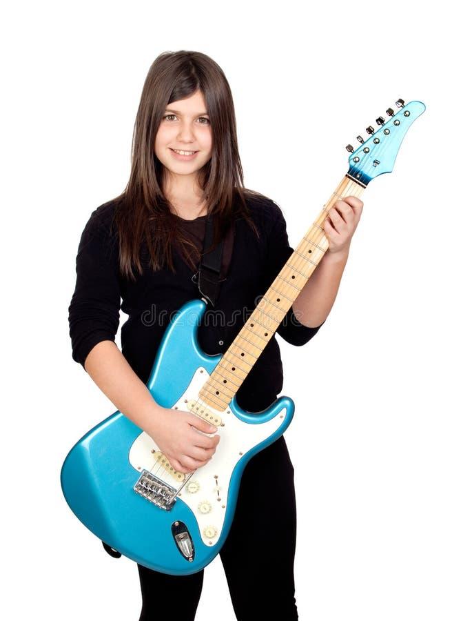 Elektrische Gitarre des entzückenden Mädchen Whit lizenzfreie stockfotografie
