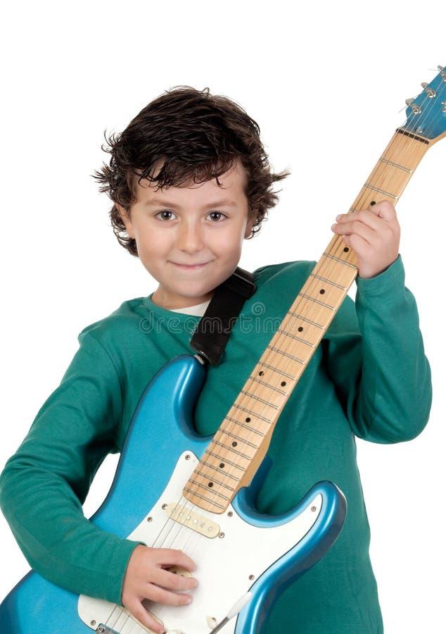 Elektrische Gitarre des Junge Whit lizenzfreies stockfoto
