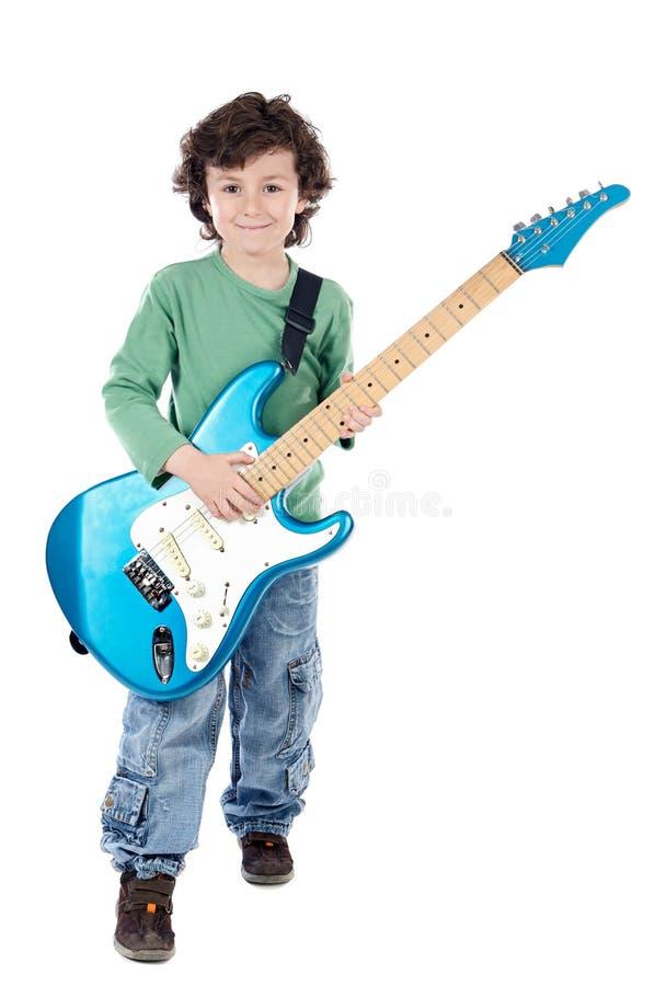 Elektrische Gitarre des Junge Whit lizenzfreie stockbilder