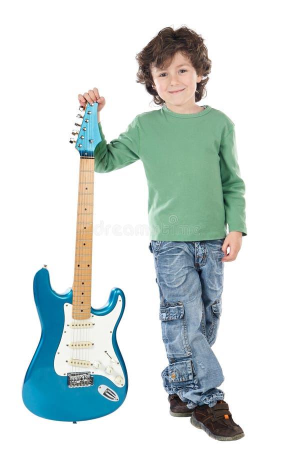 Elektrische Gitarre des Junge Whit stockfotos