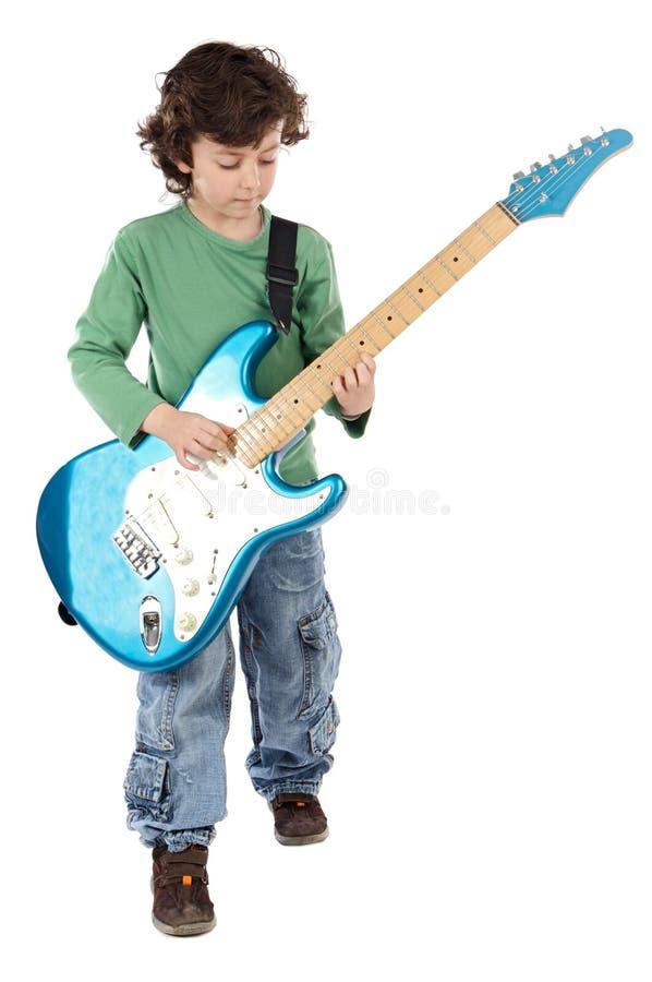 Elektrische Gitarre des Junge Whit stockbilder