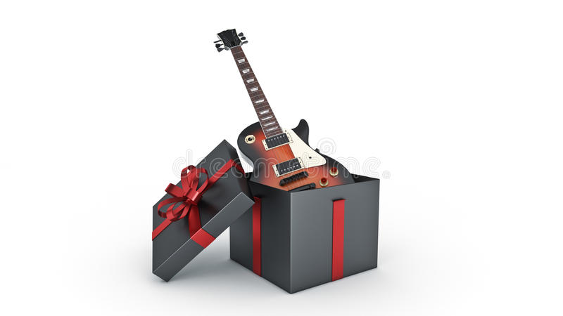 Elektrische Gitarre Geschenkboxkonzept stock abbildung