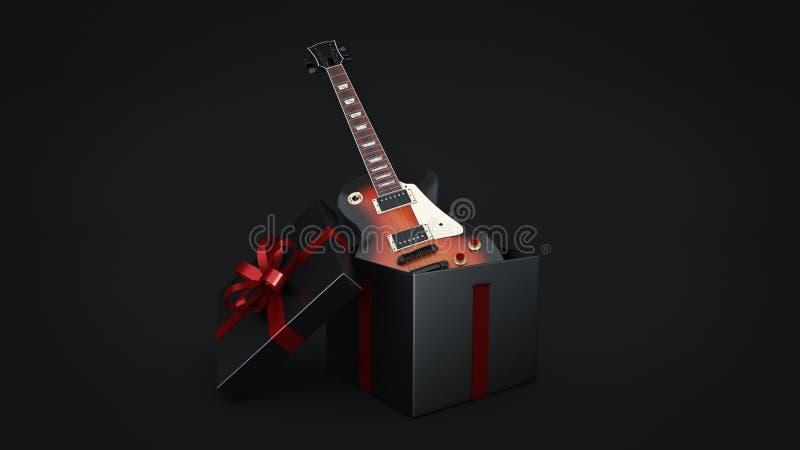 Elektrische Gitarre Geschenkboxkonzept lizenzfreie abbildung