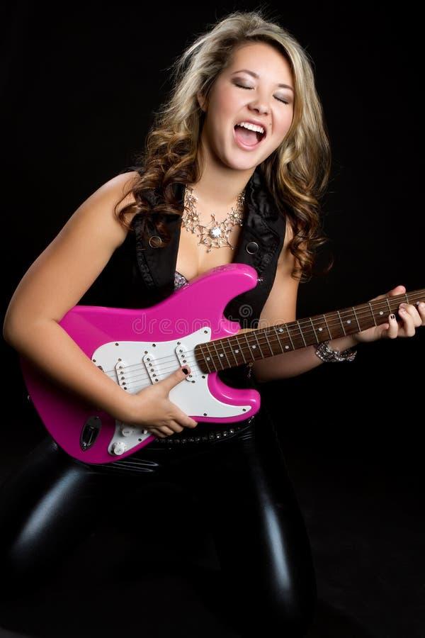Elektrische Gitarren-Mädchen lizenzfreies stockfoto