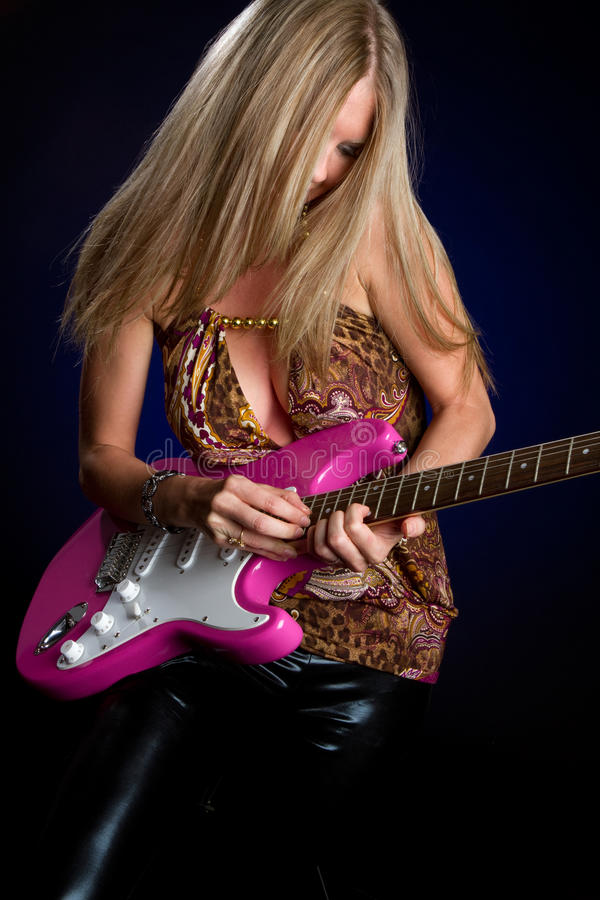 Elektrische Gitarren-Mädchen stockbild