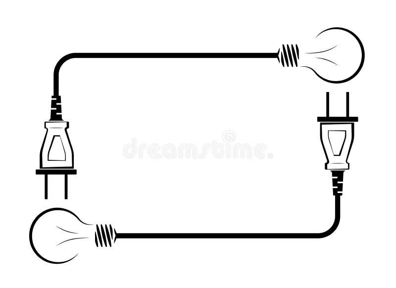 Elektrische Glühlampe mit Draht und Stecker Logo für eine elektrische Firma Stromversorgung und Energieeinsparung Schwarzes und lizenzfreie abbildung