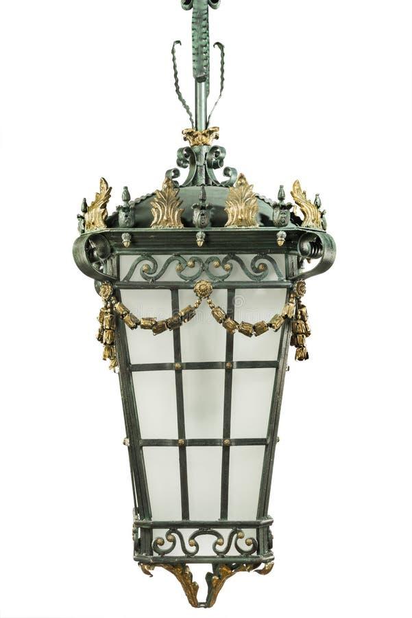 Elektrische hangende antieke lantaarn in openlucht straatlantaarn stock foto's