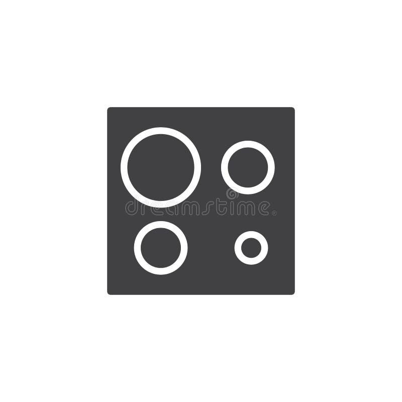 Elektrische Herdplatteansicht-Vektorikone stock abbildung