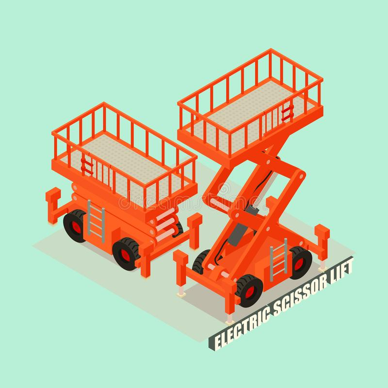 Elektrische het conceptenachtergrond van de schaarlift, isometrische stijl stock illustratie