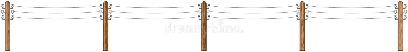 Elektrische houten polen met draden stock illustratie