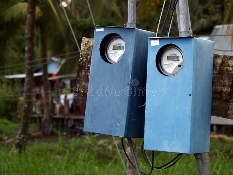 Elektrische huishoudenmeters stock afbeelding