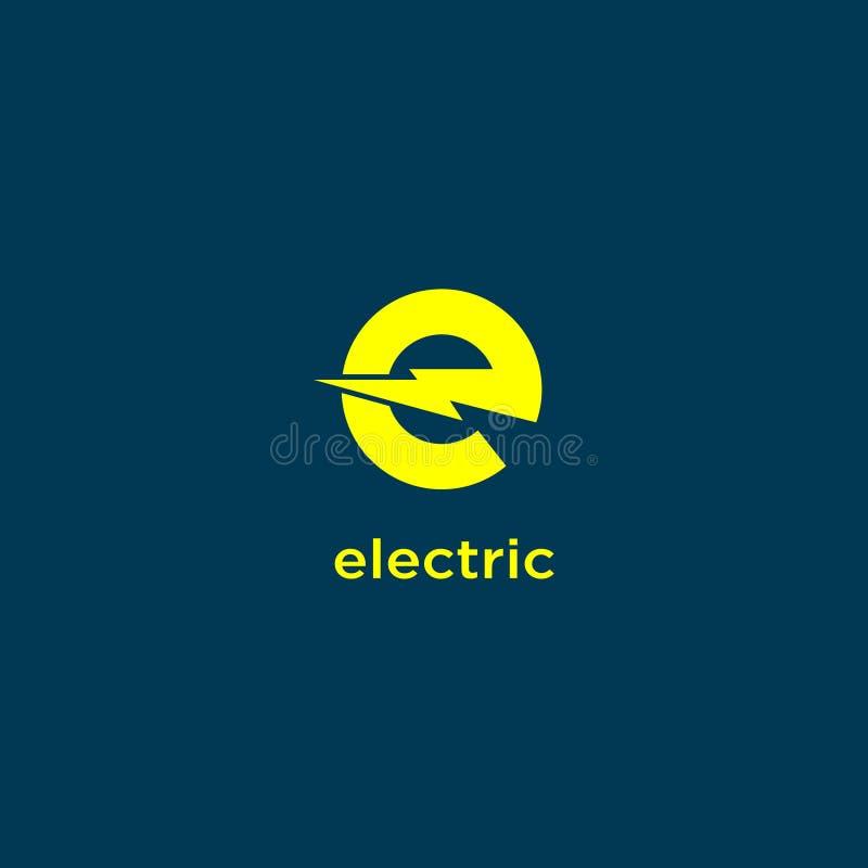 Elektrische industrieel Machtsembleem Energieembleem Gele brief E met bliksem stock illustratie